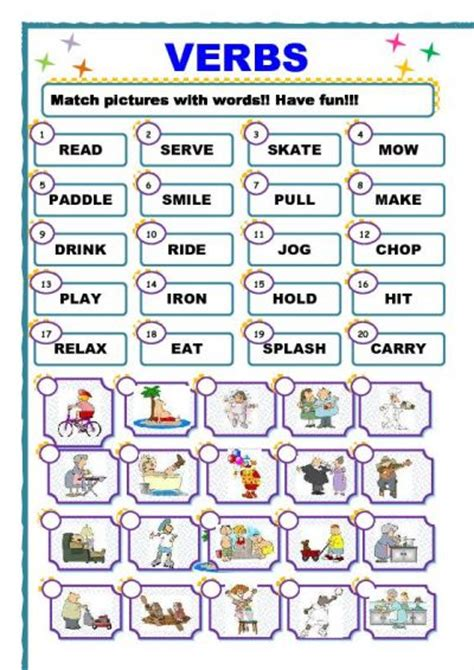 english worksheets for grade 2 verbs worksheet