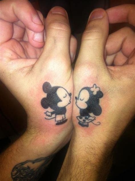 kissing mickey and minnie matching couple tattoo fmag com