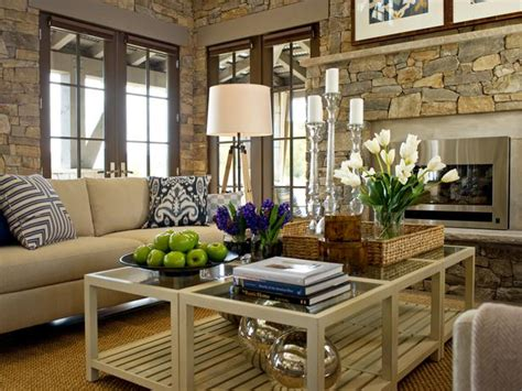 hgtv designer living rooms charming living room with stone walls hgtv