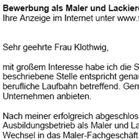 Anschreiben Bewerbung Muster Maler Und Lackierer Bewerbung Maler In Und Lackierer In Ungek 252 Ndigt Sofort