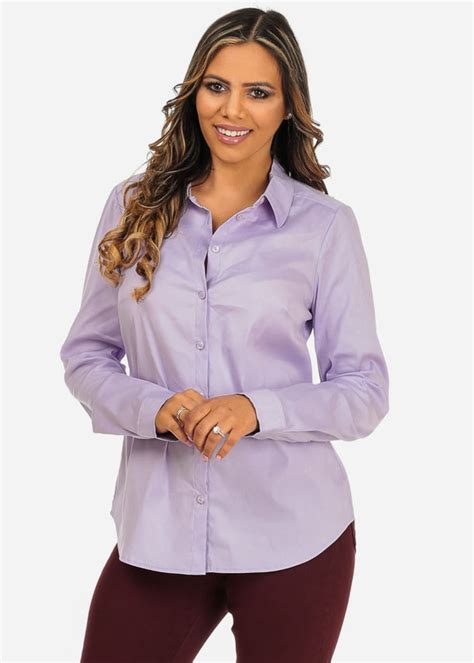Branded Venca Plus Size Tops Atasan Wanita s classic solid purple sleeve button up office wear shirt in tops