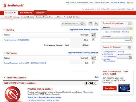 reset scotia online password transfers scotiabank