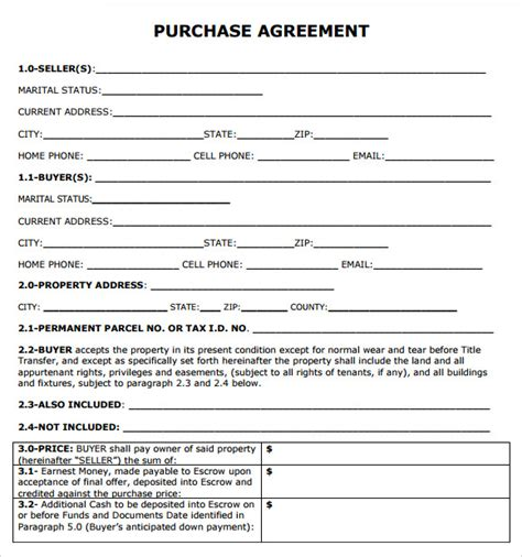 property purchase agreement template purchase agreement 7 free sles exles format