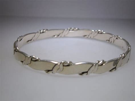VINTAGE HECHO EN MEXICO STERLING SILVER BANGLE BRACELET!   eBay