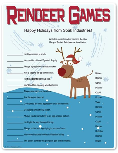 printable christmas party games for work printable reindeer games they re like fun riddles who