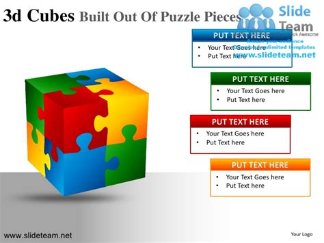3d Cubes Building Blocks Stacked Built Out Of Puzzle Powerpoint Ppt S Powerpoint Cube Template