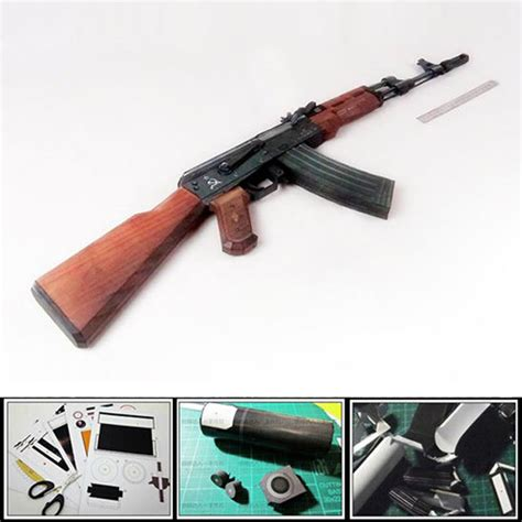 Papercraft Ak 47 - new 2016 3d paper model gun ak 47 assault rifle diy
