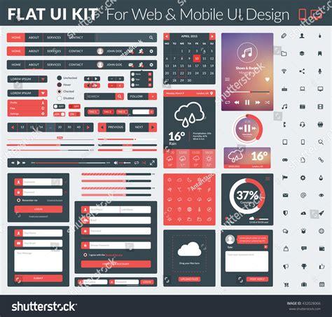 ui design elements vector set flat design ui elements website 스톡 벡터 432028066