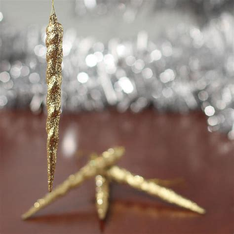 gold icicles for christmas tree gold glittered icicle ornaments ornaments and winter crafts