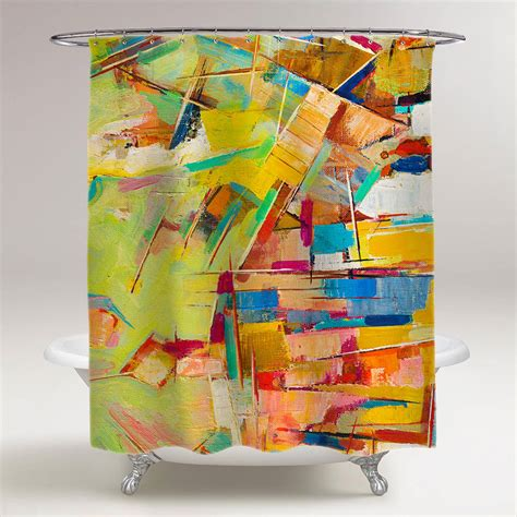 Colorful Shower Curtains Abstract Colorful Painting On Canvas Bathroom Shower Curtain Creativgoods