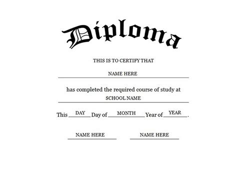 Blank High School Diploma Template Free Printables Diploma Template Word
