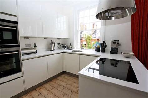 Kitchen With L Shaped Island white gloss handleless kitchen modern kitchen london