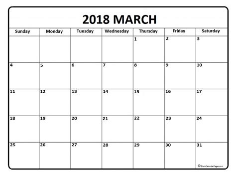 Calendar 2018 For March March 2018 Calendar March 2018 Calendar Printable