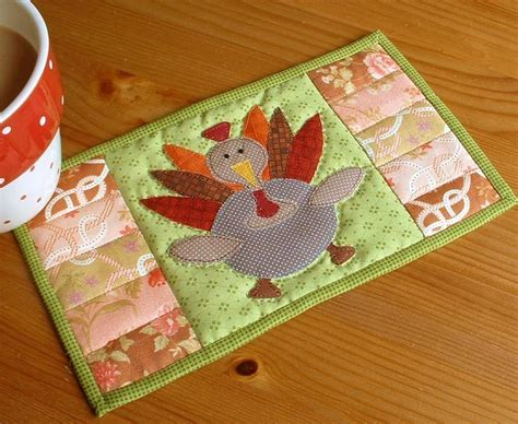 Patchwork Placemat Patterns - thanksgiving turkey mug rug by the patchsmith craftsy