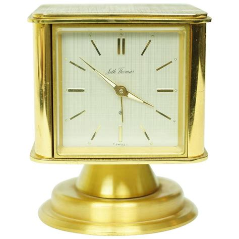 Desk Clocks For Sale by Square Form Multifunctional Brass Desk Clock For