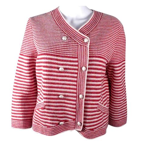 Stripe Kaos Kemeja Sweater Jaket Chanel 2014 Striped Cardigan Jacket Jackets Cotton Ref