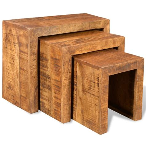 set of 3 tables vidaxl co uk antique style mango wood set of 3 nesting
