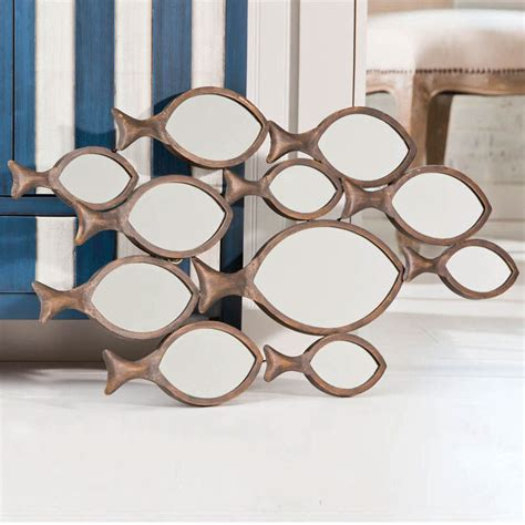 mirrors irregularly shaped one decor school of fish metal wall mirror