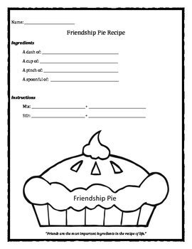 recipe for friendship template friendship pie recipe worksheet by chuda s counseling and