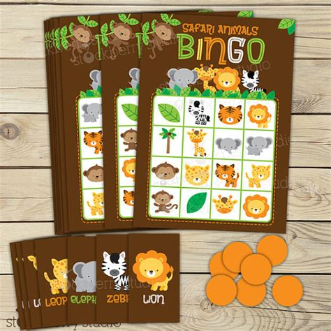 printable jungle animal bingo safari jungle baby shower bingo game birthday party