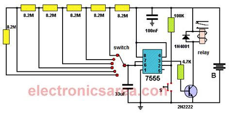 how to set a light timer with pins 5 to 30 minute timer circuit using 7555 ic electronics area