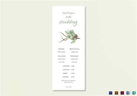 Wedding Program Cards Template by Fall Wedding Program Card Template In Psd Word Publisher
