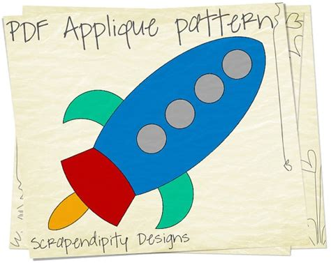 Card Rocket Template by Rocketship Clothing Applique Template Space Iron On