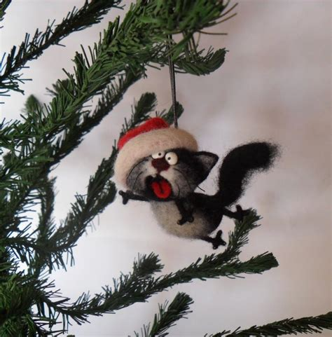 singing cat needle felted christmas ornaments christmas