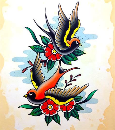 traditional swallow tattoo design traditional swallows design