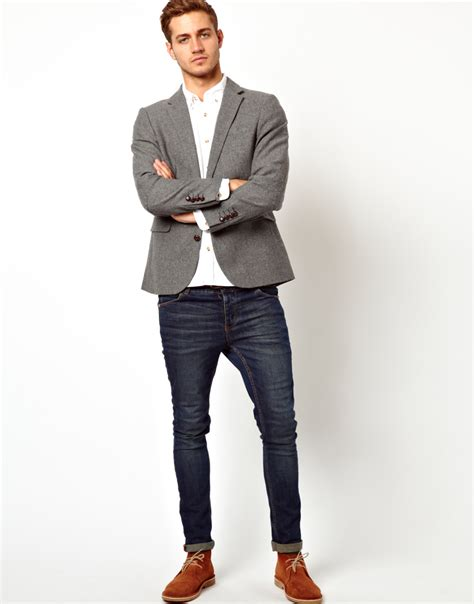 Slim Fit lyst michael kors slim fit blazer in tweed in gray for