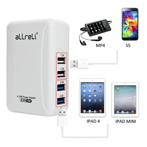 Usb Charger Wall 3 Port 3 1a allreli 174 34w 6 8 a 4 port usb wall charger power adapter
