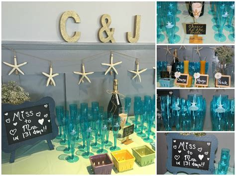 Beach Themed Bridal Shower Decorations and Champagne Bar