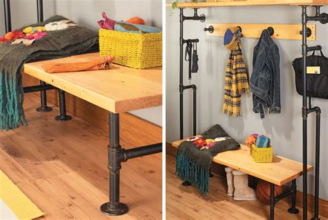 diy pipe bench build a bench coat rack from pipes my home my style
