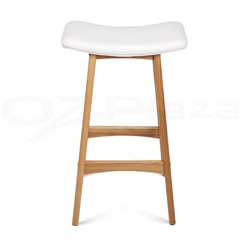 Dining Stool Chairs 4x Oak Wood Bar Stools Wooden Dining Chairs Kitchen Side Padded White 3629 Ebay