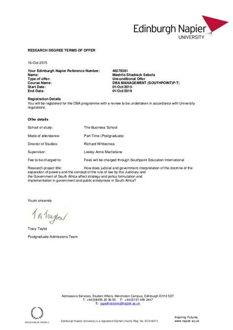 Acceptance Letter For Uk Enu Dba Acceptance Letter Mashilo Shadrack Sebola