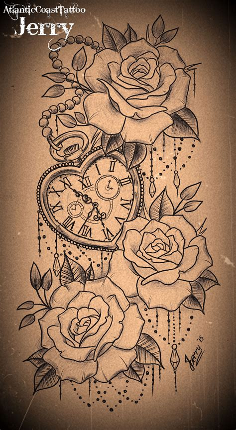 rose tattoo designs pinterest heart shaped pocket watch and roses tattoo design