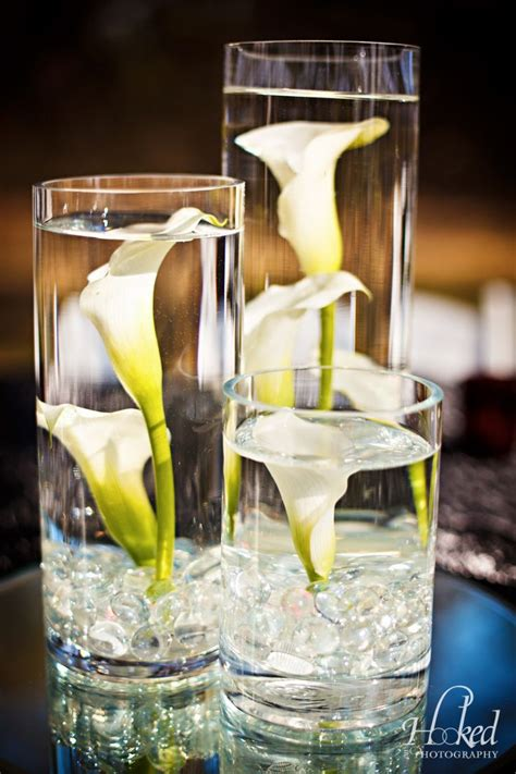 Red And White Wedding With Submerged Calla Lilies And Calla Table Centerpieces