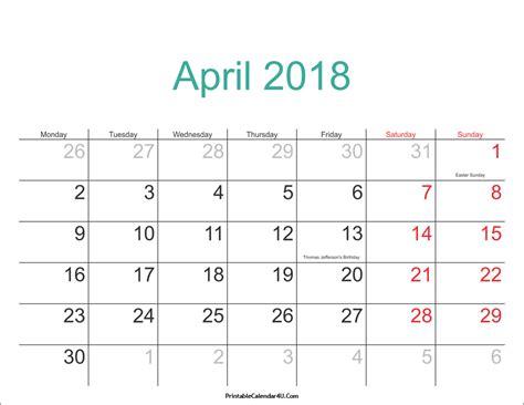 april 2018 monthly calendar printable templates printable calendar