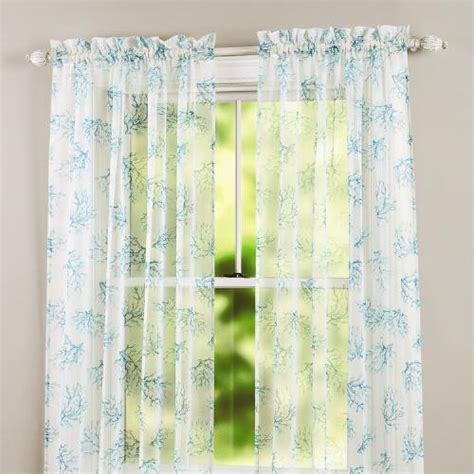 coral sheer curtain panels turquoise coral sheer window panel christmas tree shops