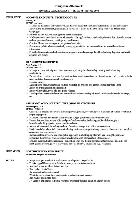resume format for executive accounts pr account executive resume sles velvet