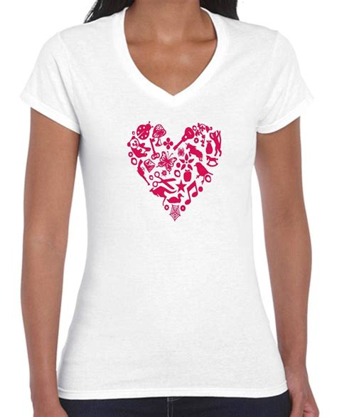 cute t shirt pattern heart pattern hearts ladies women s cute t shirt singlet