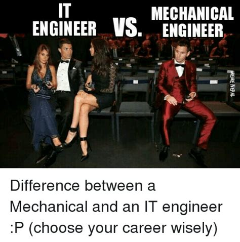 Mechanical Engineer Meme - mechanical engineer vs engineer difference between a mechanical and an it engineer p choose your