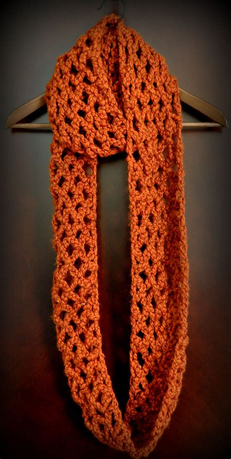 pattern simple scarf free pattern diamond lattice chain crochet infinity scarf