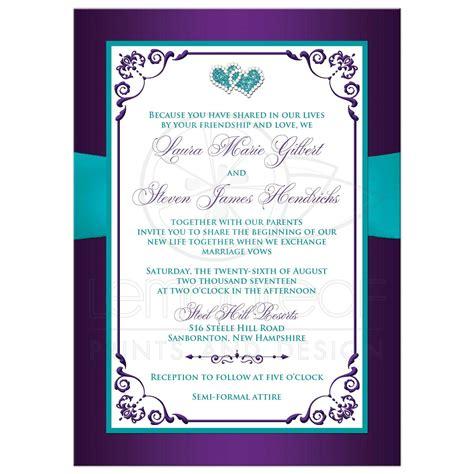 Purple And Turquoise Wedding Invitations
