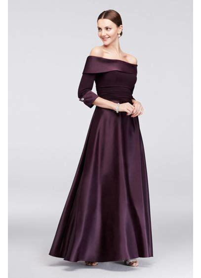 shoulder  sleeve satin ball gown davids bridal