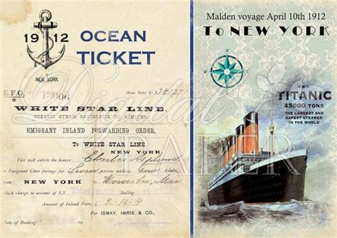 printable titanic tickets titanic ocean ticket large image digital collage