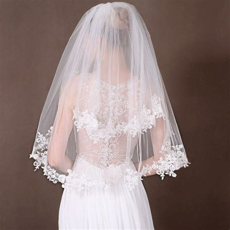 beautiful 2 layer white ivory lace edge wedding bridal veil with comb ebay