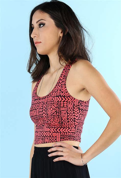 Crop Abstrac abstract pattern crop top shop dresses at papaya clothing