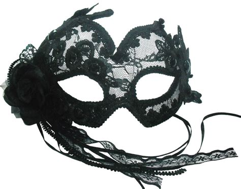 Topeng Mask Lace Misterius black lace burlesque mask with headband or ribbons