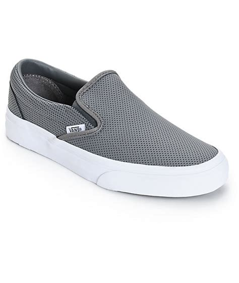 grey slip on shoes vans classic grey perforated leather slip on shoes womens
